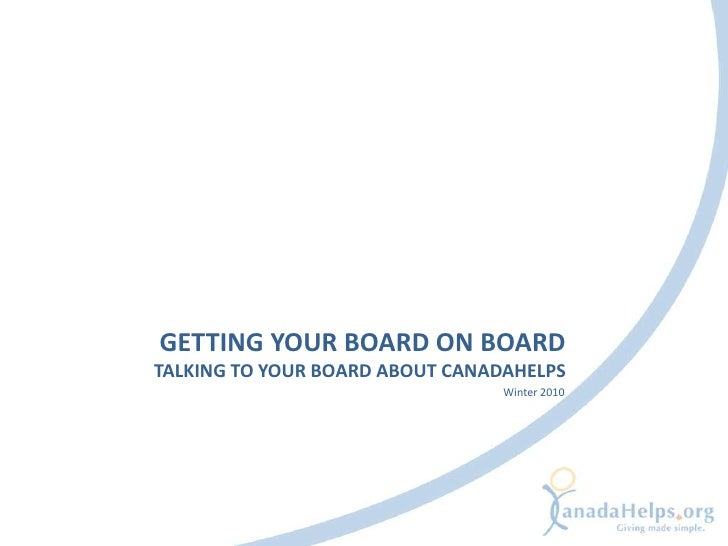Getting Your Board on Board - Talking to your Board About CanadaHelps