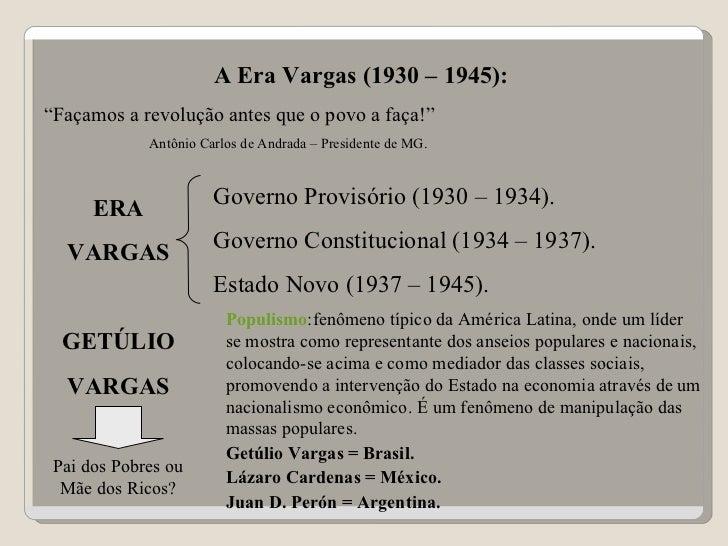 Era Vargas e o Período Populista
