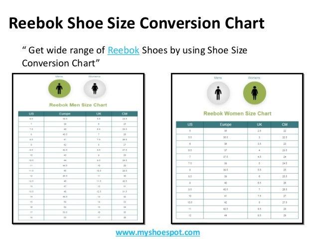 reebok size chart shoes