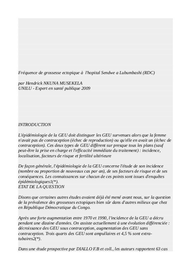 Fréquence de grossesse ectopique à l'hopital Sendwe a Lubumbashi (RDC) par Hendrick NKUNA MUSEKELA UNILU - Expert en santé...