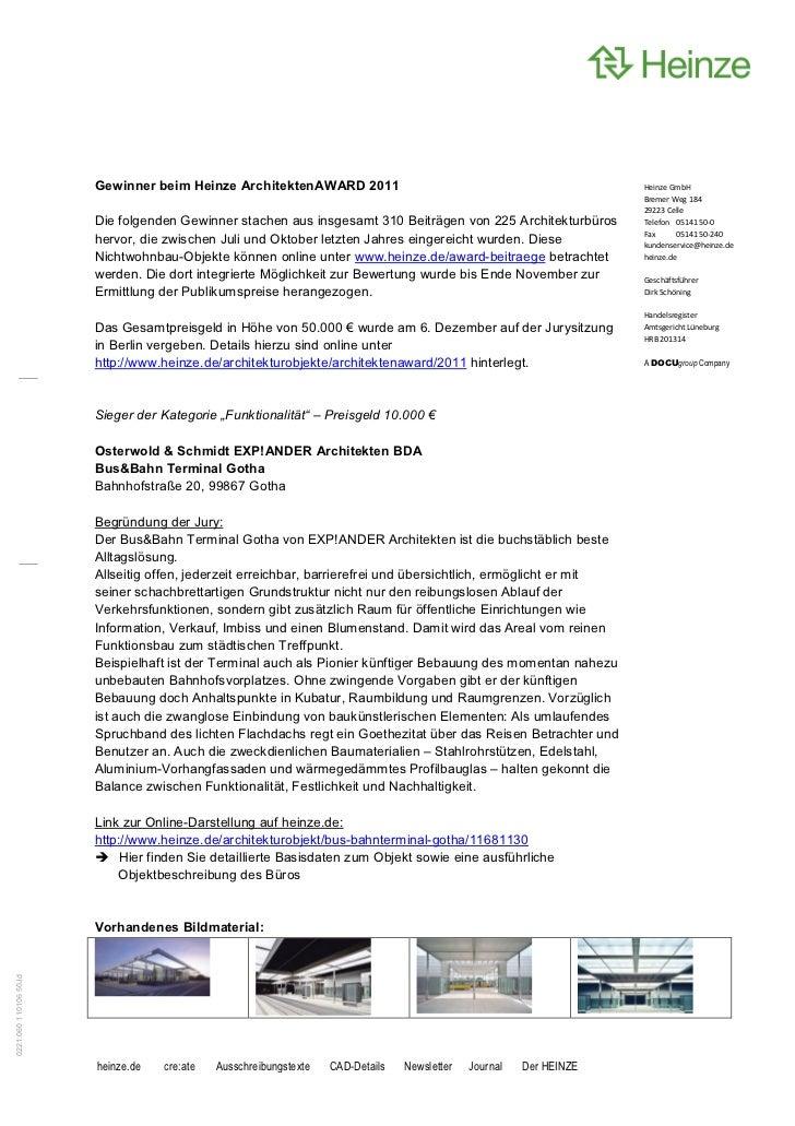 Gewinner beim Heinze ArchitektenAWARD 2011                                                    ,          ,                ...