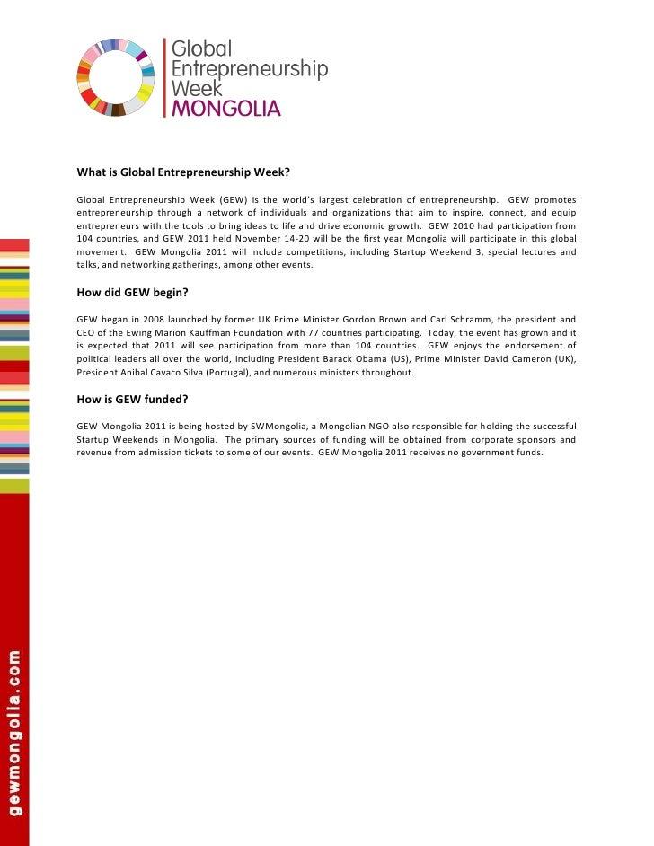 GEW MONGOLIA Sponsorshp Package