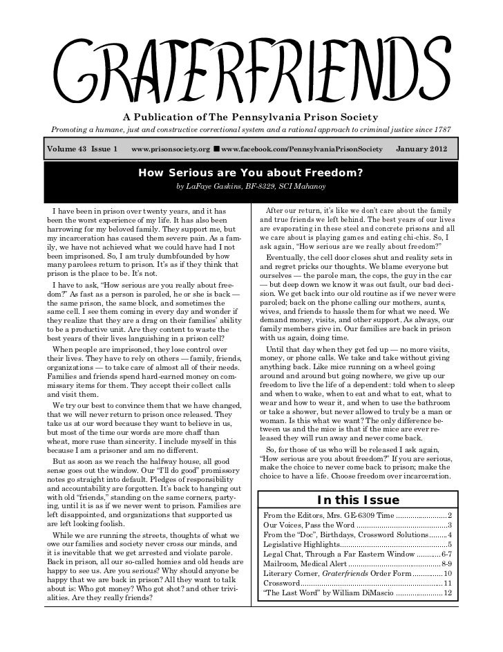 Graterfriends ― A Publication of The Pennsylvania Prison Society ― January 2012                         A Publication of T...