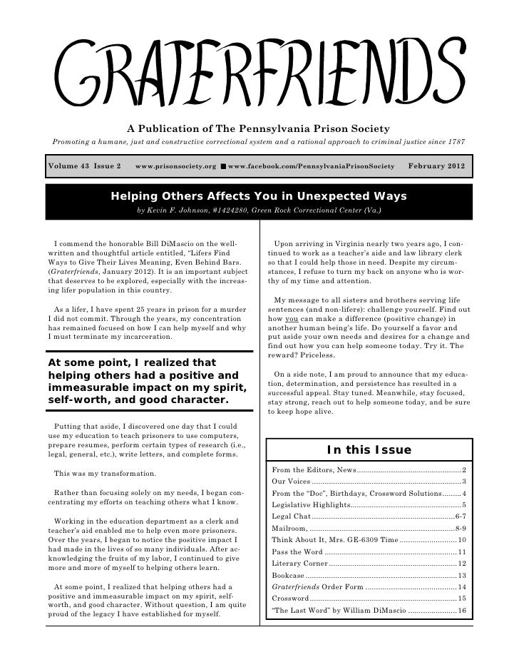 Graterfriends ― A Publication of The Pennsylvania Prison Society ― February 2012                        A Publication of T...