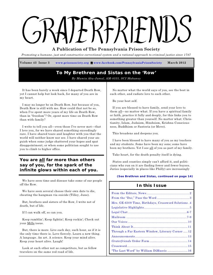 Graterfriends ― A Publication of The Pennsylvania Prison Society ― March 2012                         A Publication of The...