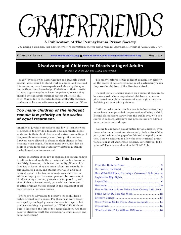 Graterfriends ― A Publication of The Pennsylvania Prison Society ― May 2012                        A Publication of The Pe...