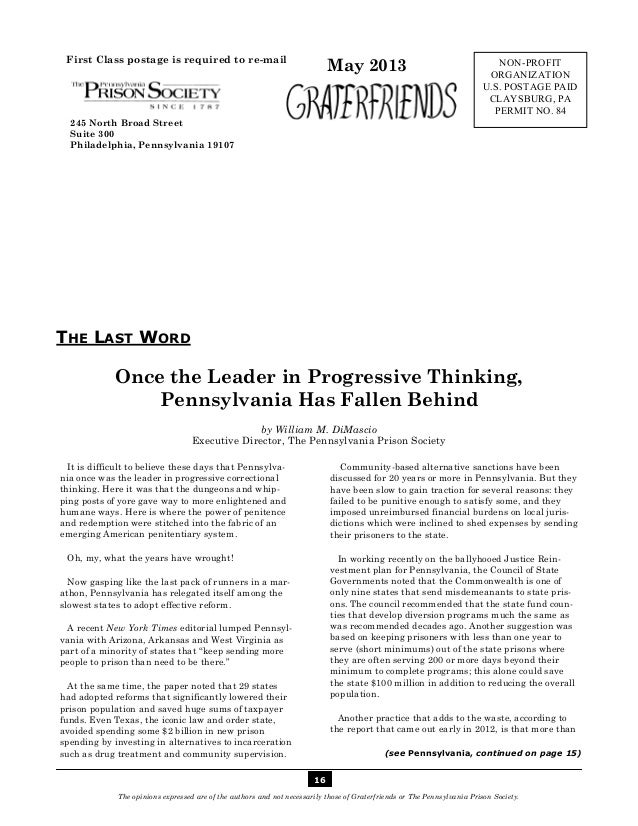 Graterfriends ― A Publication of The Pennsylvania Prison Society ― May 201316The opinions expressed are of the authors and...