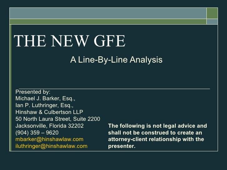 The new GFE line by line presentation