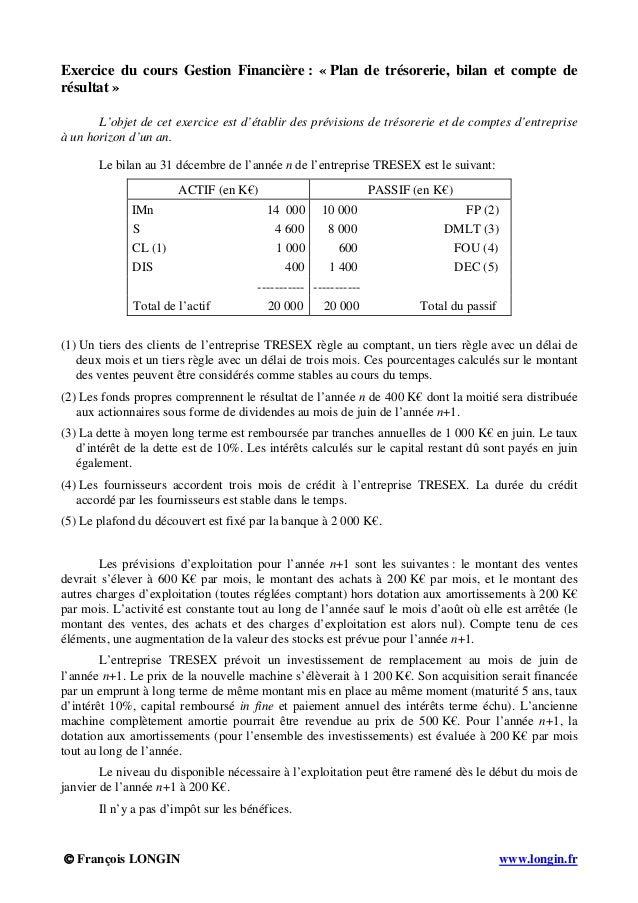 © François LONGIN www.longin.fr Exercice du cours Gestion Financière : « Plan de trésorerie, bilan et compte de résultat »...
