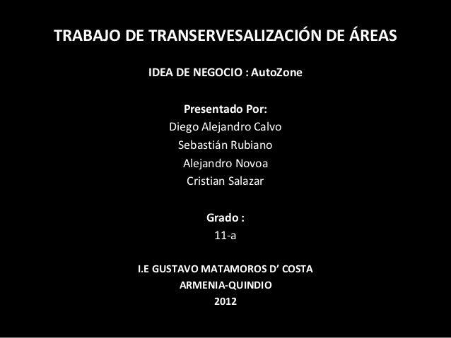 TRABAJO DE TRANSERVESALIZACIÓN DE ÁREAS          IDEA DE NEGOCIO : AutoZone                 Presentado Por:              D...