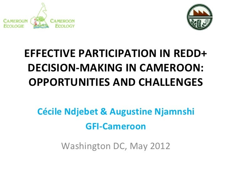 EFFECTIVE PARTICIPATION IN REDD+ DECISION-MAKING IN CAMEROON: OPPORTUNITIES AND CHALLENGES  Cécile Ndjebet & Augustine Nja...