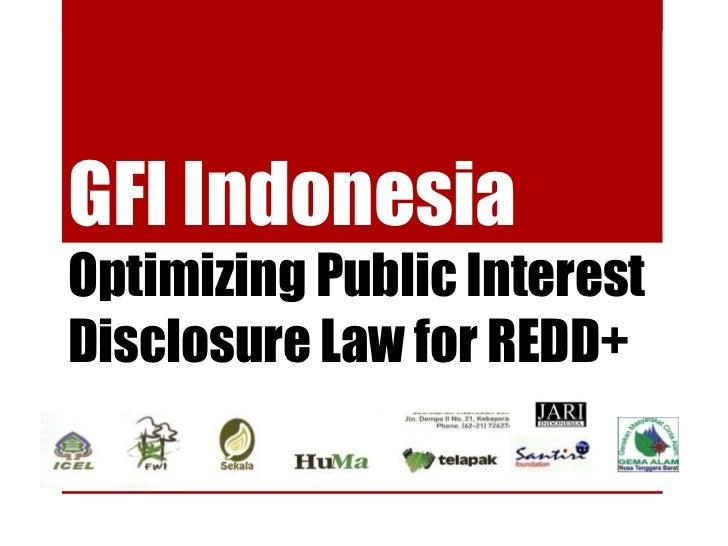 GFI Indonesia: Optimizing Public Interest Disclosure Law for REDD+
