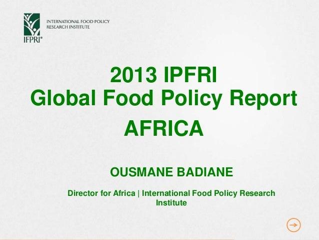 GFPR Ousmane Badiane Presentation - IFPRI AFRICA