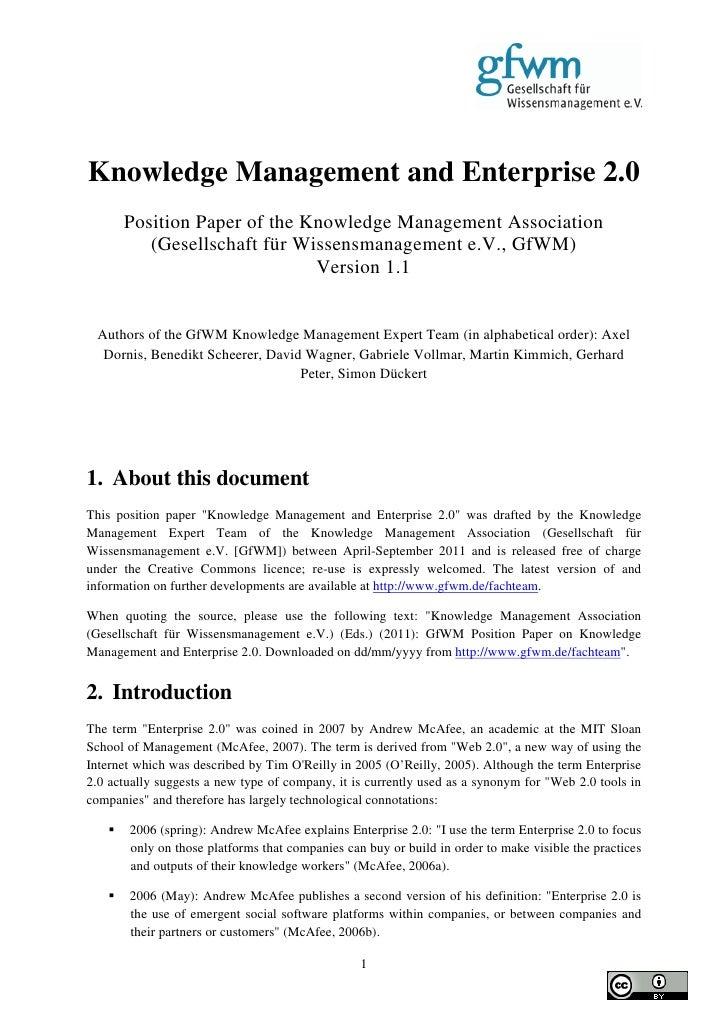 GfWM Position Paper Knowledge Management and Enterprise 2.0