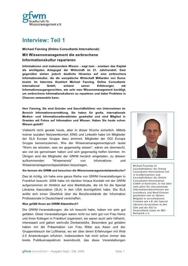 Interview: Teil 1 Michael Fanning (Online Consultants International): Mit Wissensmanagement die zerbrochene Informationsku...