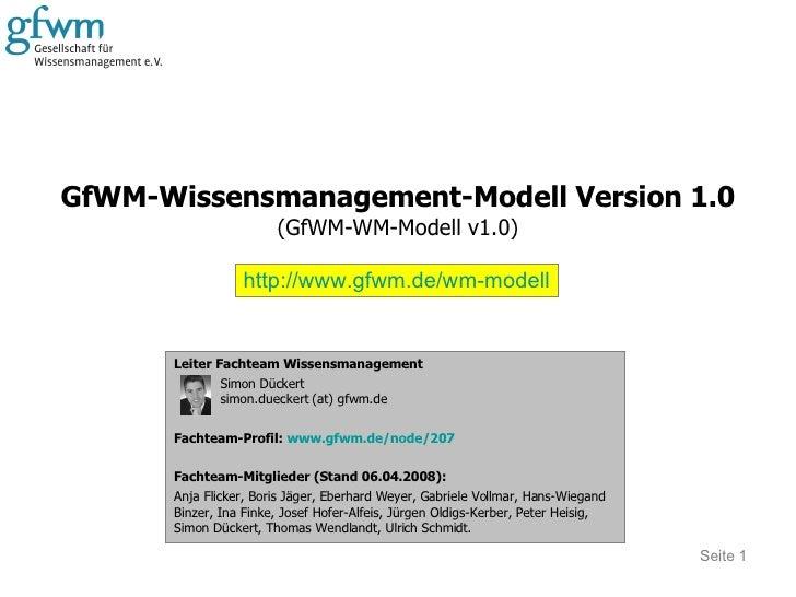 GfWM-Wissensmanagement-Modell Version 1.0 (GfWM-WM-Modell v1.0) Seite  Leiter Fachteam Wissensmanagement Simon Dückert sim...