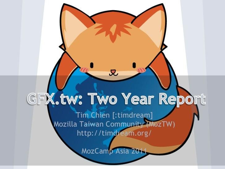 Tim Chien [:timdream]Mozilla Taiwan Community (MozTW)       http://timdream.org/       MozCamp Asia 2011
