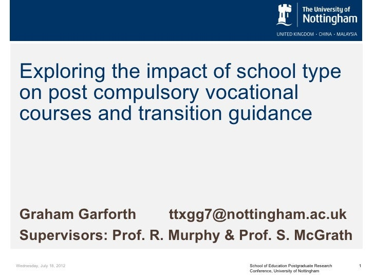 Exploring the impact of school type on post compulsory vocational courses and transition guidance Graham Garforth       tt...