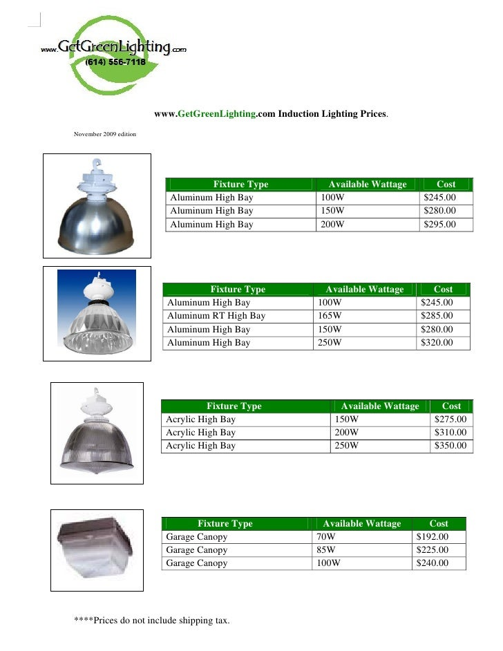 www.GetGreenLighting.com Induction Lighting Prices. November 2009 edition   .                                     Fixture ...