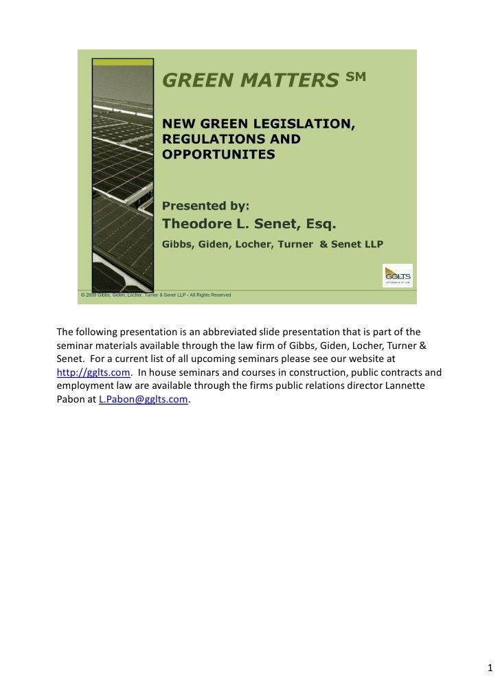 Gglts   Green Matters   2009 New Green Legislation Presentation