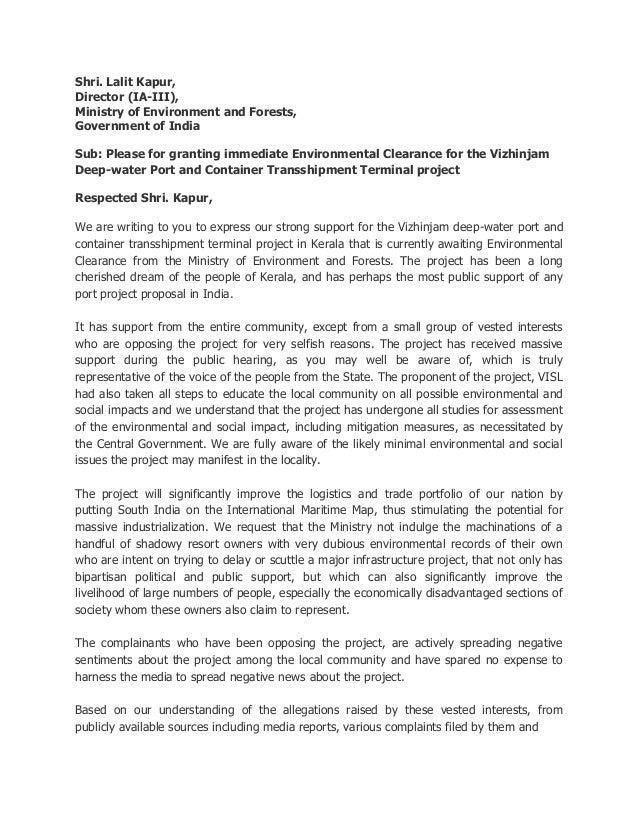Shri. Lalit Kapur, Director (IA-III), Ministry of Environment and Forests, Government of India Sub: Please for granting im...