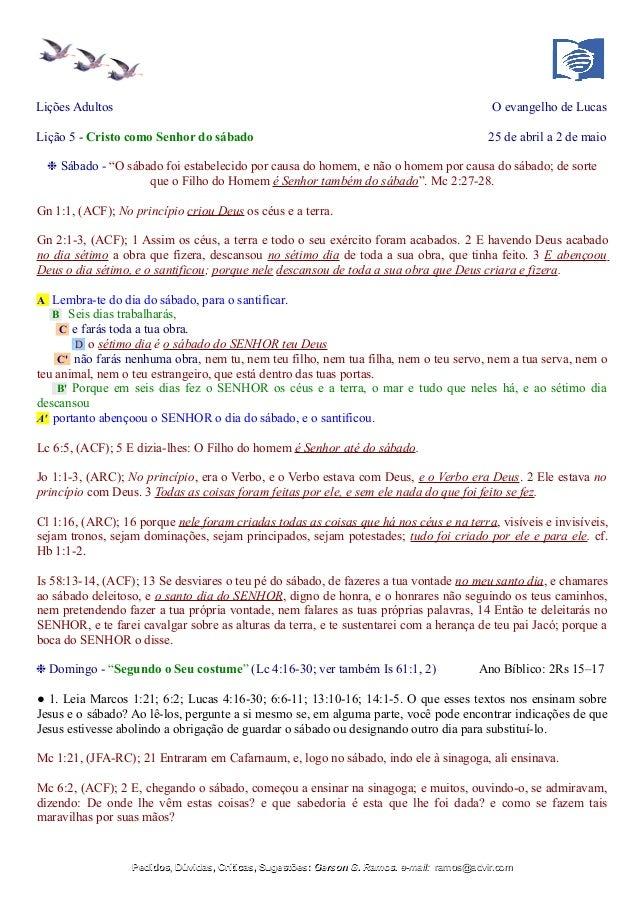 """Lições Adultos O evangelho de Lucas Lição 5 - Cristo como Senhor do sábado 25 de abril a 2 de maio ❉ Sábado - """"O sábado fo..."""