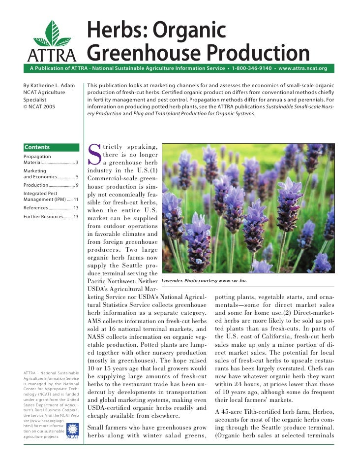 Herbs: Organic  ATTRA                                     Greenhouse Production    A Publication of ATTRA - National Susta...