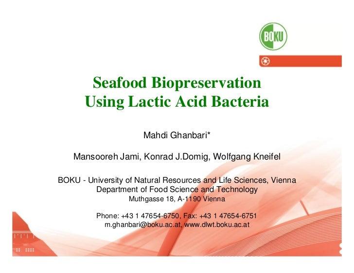 Seafood Biopreservation                        Using Lactic Acid Bacteria                                                 ...