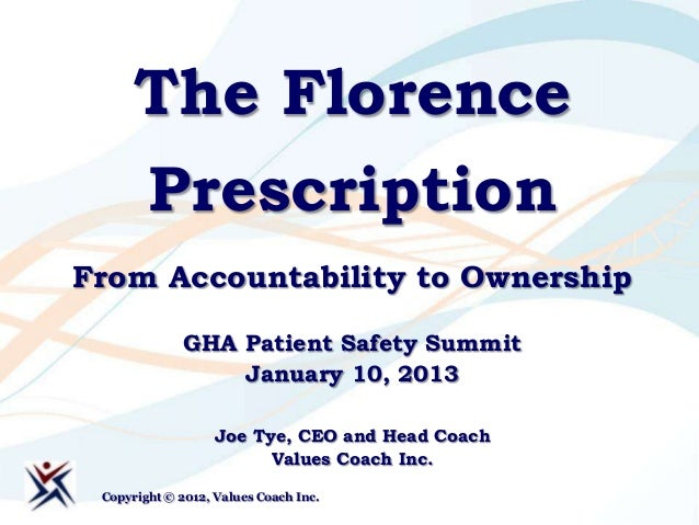 The Florence      PrescriptionFrom Accountability to Ownership              GHA Patient Safety Summit                  Jan...