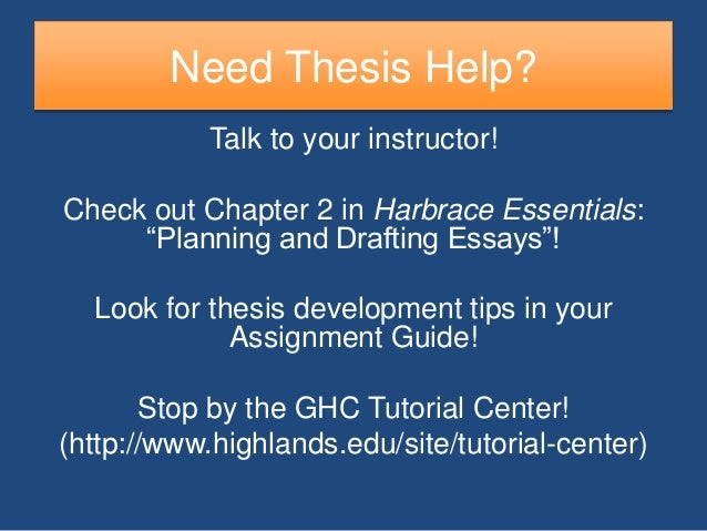 thesis development The thesis statement is ultimately what you are trying to argue about your topic it should express your topic's significance and demonstrate a relationship to your theme while.