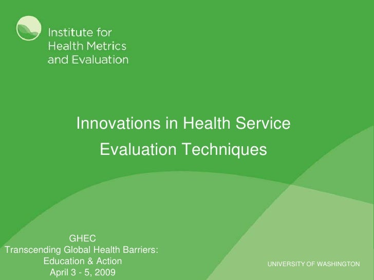 Innovations in Health Service Evaluation Techniques: Intro