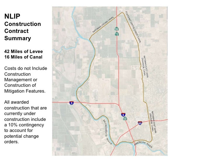 NLIP Construction  Contract Summary 42 Miles of Levee 16 Miles of Canal Costs do not Include Construction Management or Co...