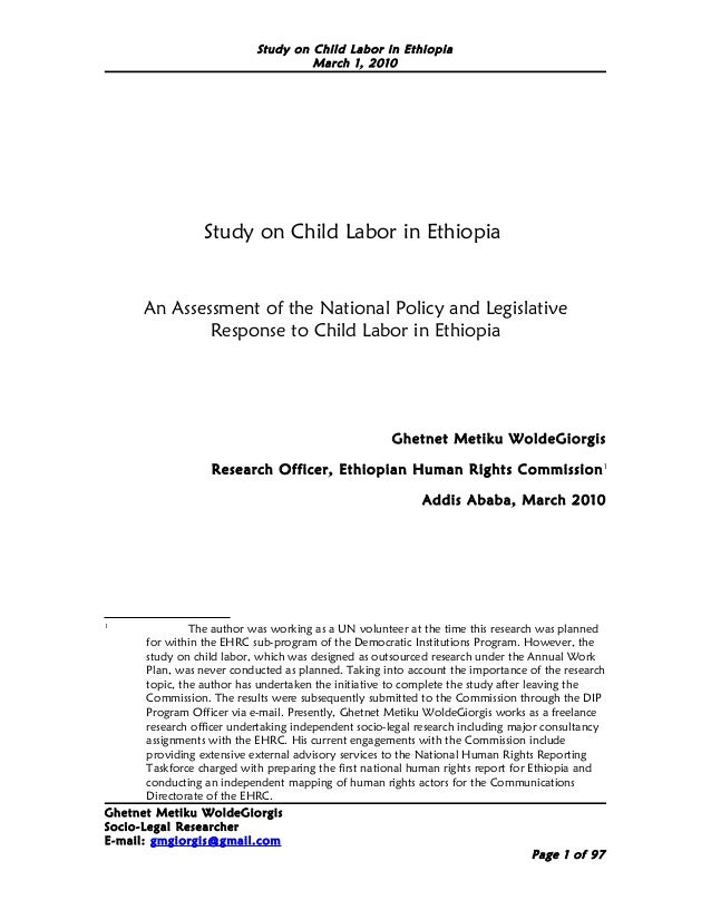 Ghetnet metiku ehrc study on child labor in ethiopia