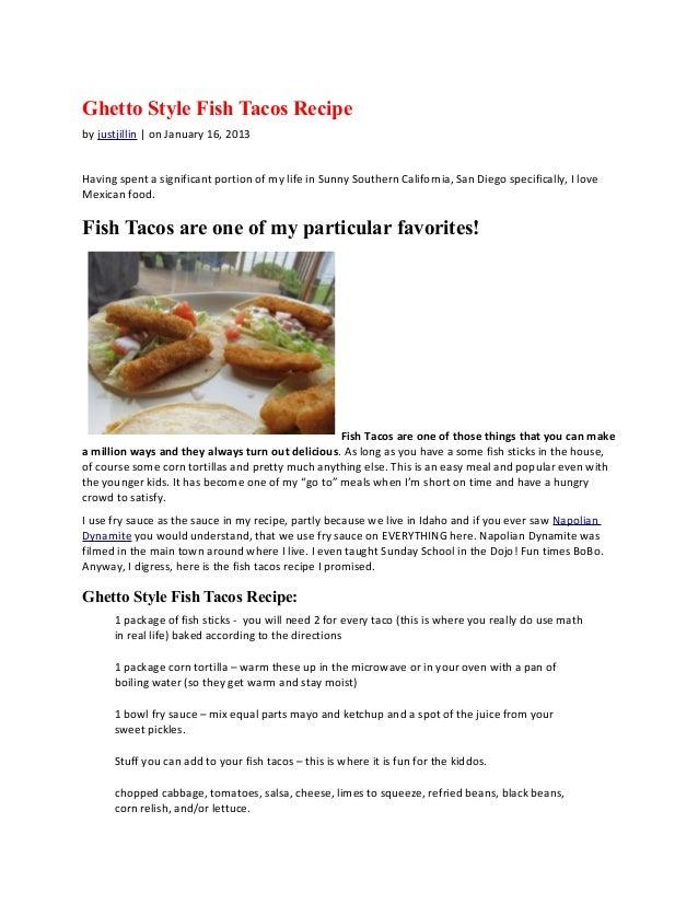 Ghetto Style Fish Taco Recipe