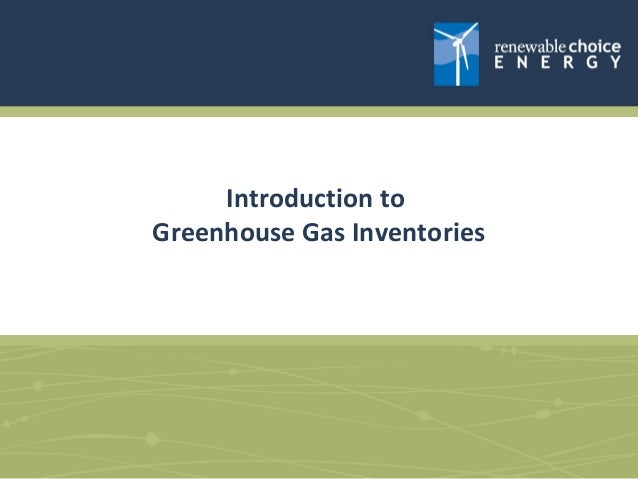 Introduction to Greenhouse Gas Inventories