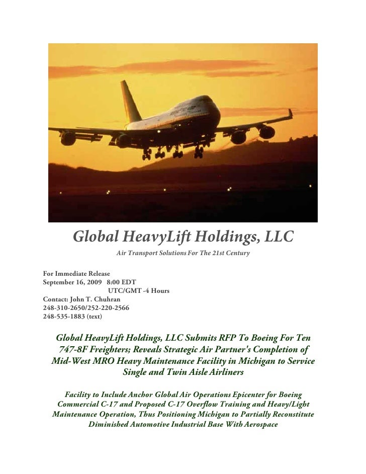 Global HeavyLift Holdings, LLC                     Air Transport Solutions For The 21st Century  For Immediate Release Sep...