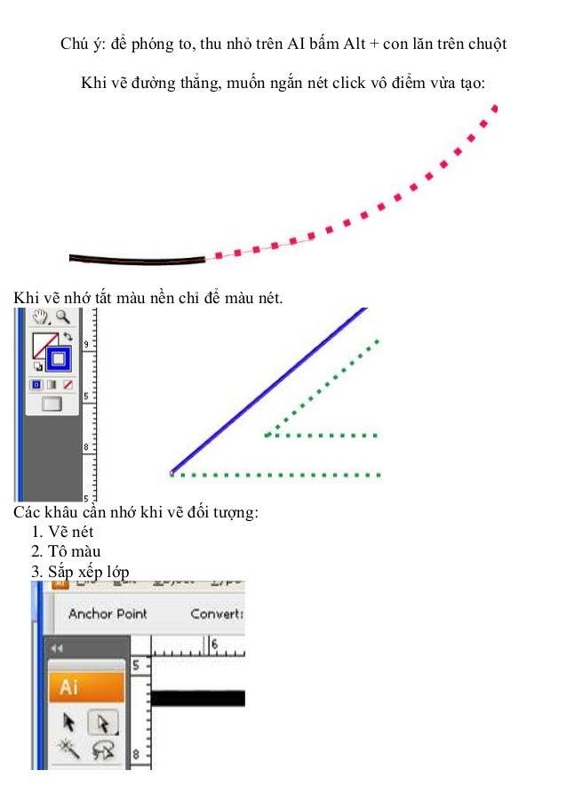 Chú ý: để phóng to, thu nhỏ trên AI bấm Alt + con lăn trên chuột Khi vẽ đường thẳng, muốn ngắn nét click vô điểm vừa tạo: ...