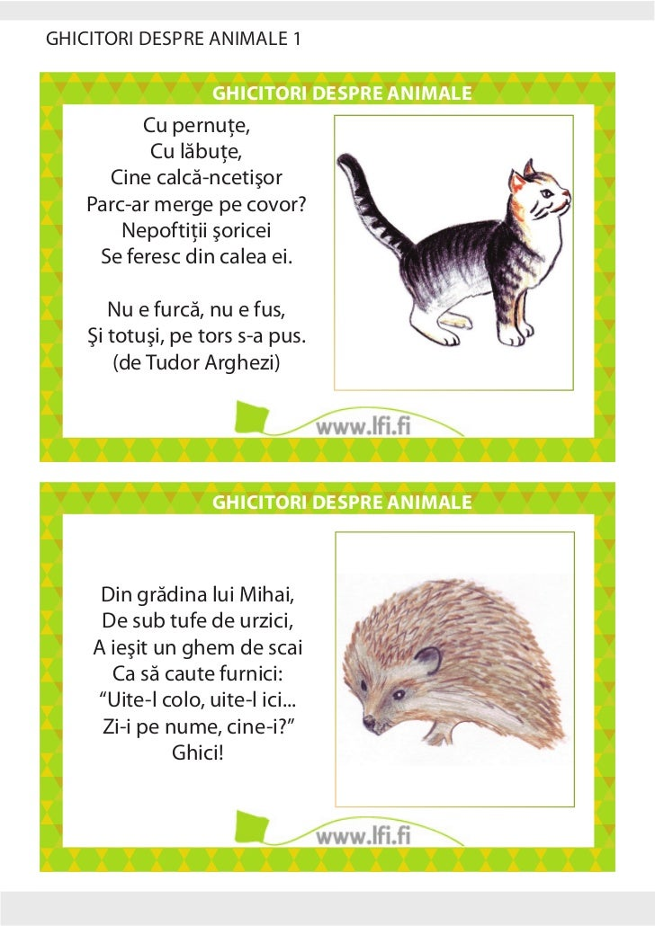 GHICITORI DESPRE ANIMALE 1                                         GHICITORI DESPRE ANIMALE                          Cu pe...