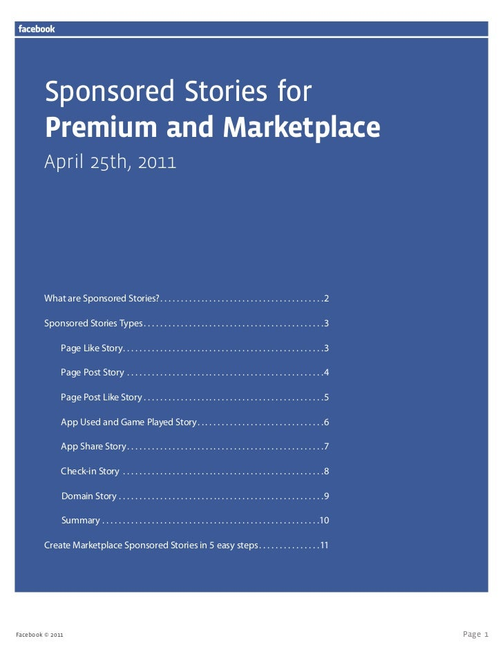 Sponsored Stories for         Premium and Marketplace         April 25th, 2011         What are Sponsored Stories?  .  .  ...
