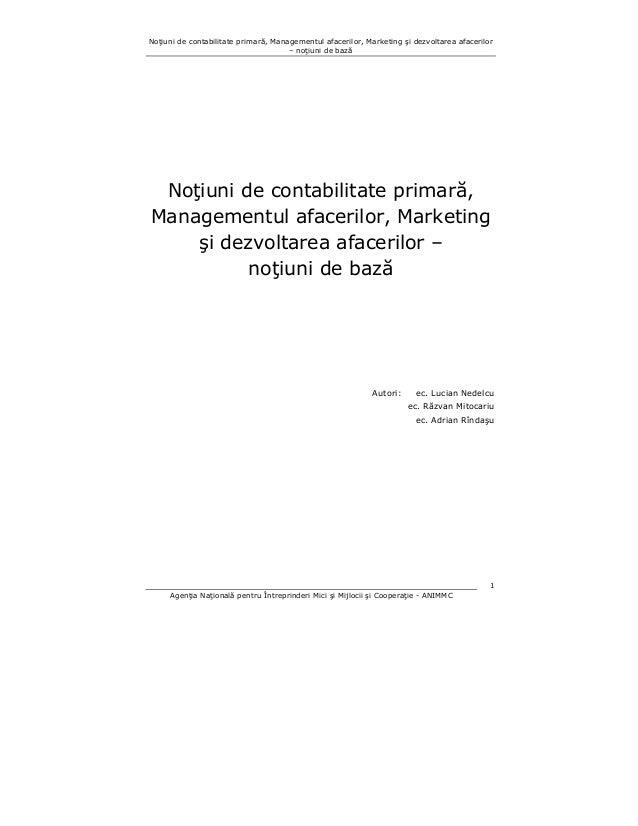 Noţiuni de contabilitate primară, Managementul afacerilor, Marketing şi dezvoltarea afacerilor – noţiuni de bază  Noţiuni ...