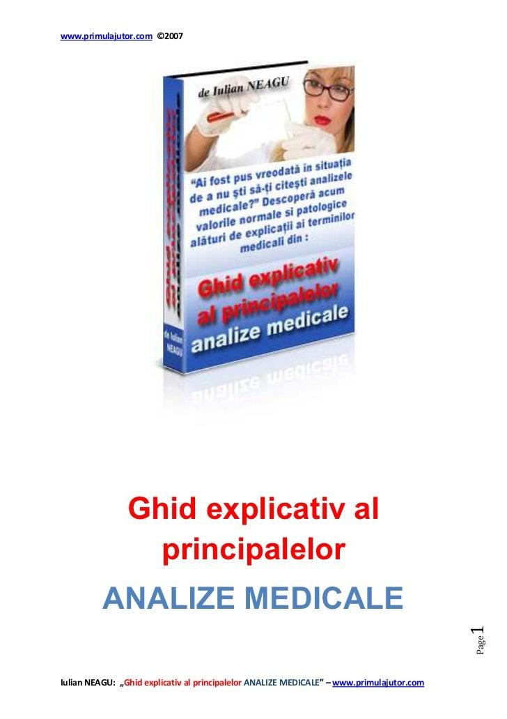 www.primulajutor.com ©2007                Ghid explicativ al                  principalelor          ANALIZE MEDICALE     ...