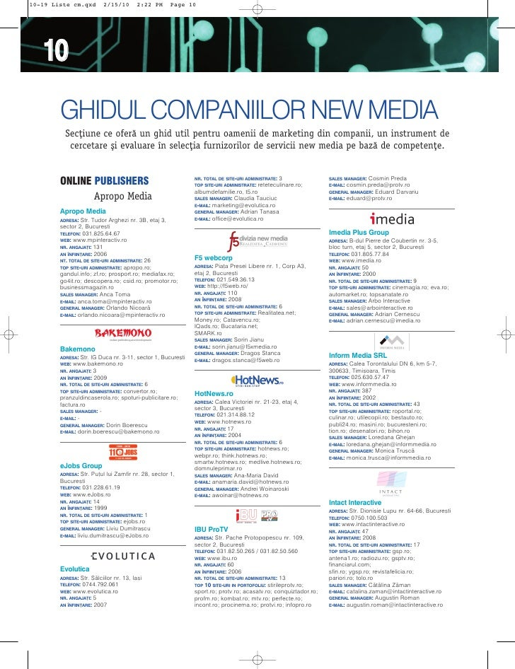 10-19 Liste cm.qxd        2/15/10          2:22 PM     Page 10        10         GHIDUL COMPANIILOR NEW MEDIA           Se...
