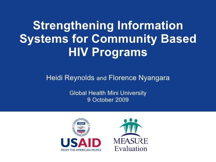 Strengthening Information Systems for Community Based HIV Programs