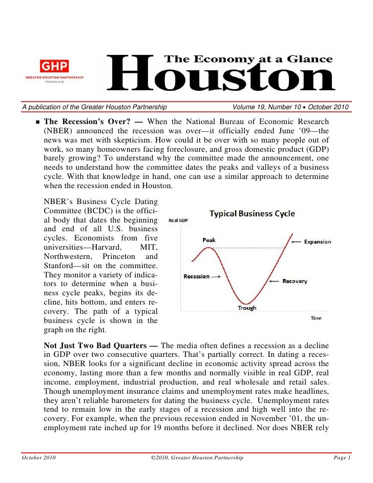 A publication of the Greater Houston Partnership                       Volume 19, Number 10 • October 2010         The Rec...