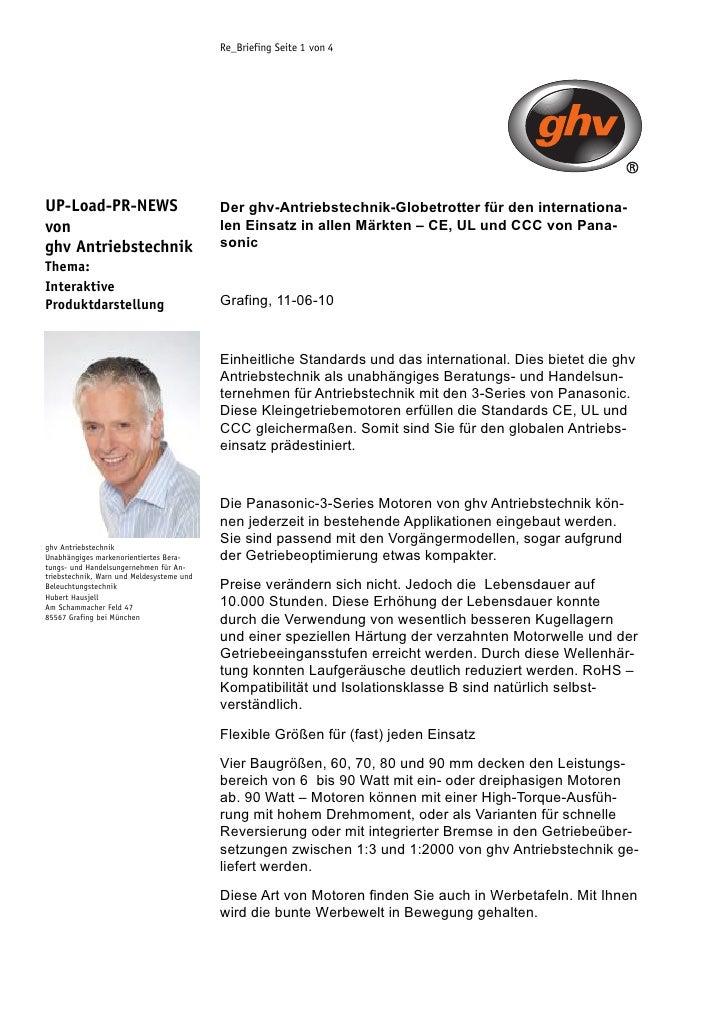 Re_Briefing Seite 1 von 4     UP-Load-PR-NEWS                            Der ghv-Antriebstechnik-Globetrotter für den inte...