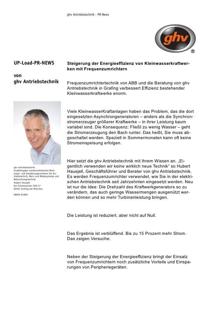 ghv Antriebstechnik - PR-News     UP-Load-PR-NEWS                            Steigerung der Energieeffizienz von Kleinwass...