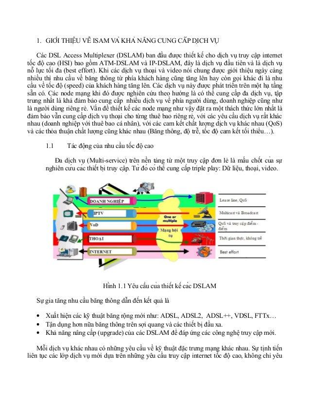 1. GIỚI THIỆU VỀ ISAM VÀ KHẢ NĂNG CUNG CẤP DỊCH VỤ Các DSL Access Multiplexer (DSLAM) ban đầu được thiết kế cho dị...