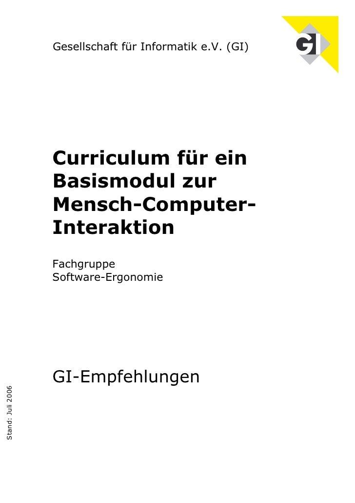Curriculum für ein Basismodul zur Mensch-Computer-Interaktion (Juli 2006)
