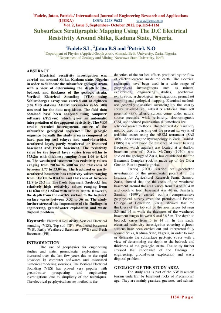 1        Fadele, Jatau, Patrick./ International Journal of Engineering Research and Applications                      (IJE...
