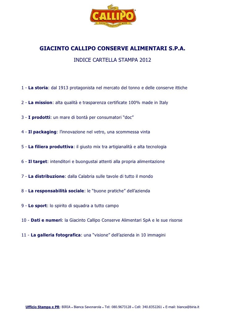 Giacinto callipo conserve alimentari sp a   cartella stampa 2012